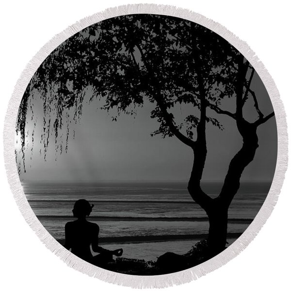 Meditative State Round Beach Towel