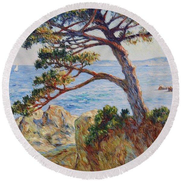 Mediterranean Sea Round Beach Towel