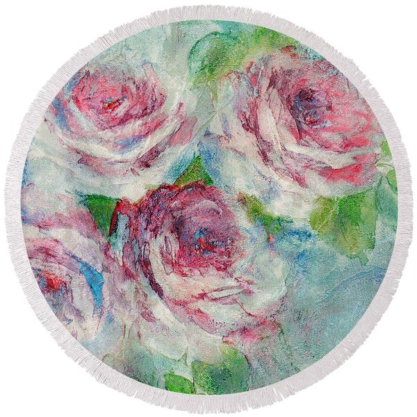 Round Beach Towel featuring the painting Memories Of Roses by Writermore Arts