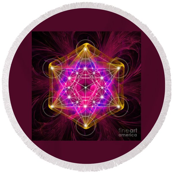 Metatron's Cube With Flower Of Life Round Beach Towel