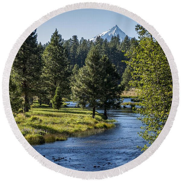 Round Beach Towel featuring the photograph Metolius Springs Oregon by Mary Lee Dereske