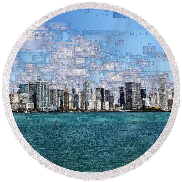 Miami, Florida Round Beach Towel