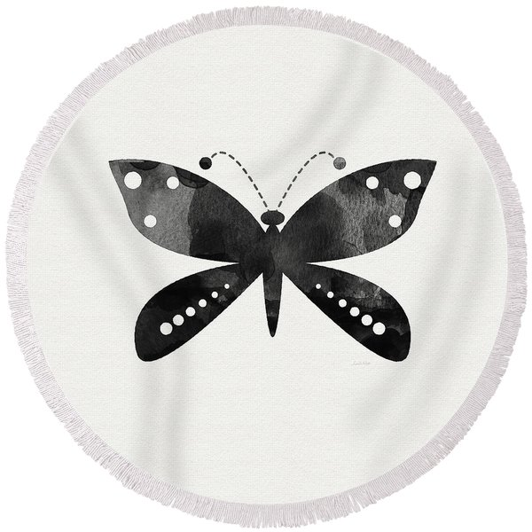 Midnight Butterfly 4- Art By Linda Woods Round Beach Towel