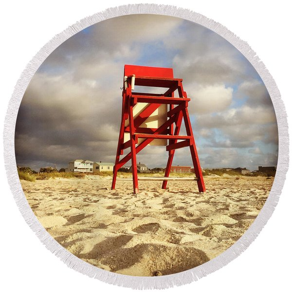 Mighty Red Round Beach Towel