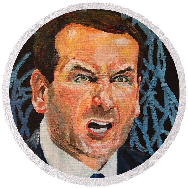 Mike Krzyzewski Aka Coach K Portrait Round Beach Towel