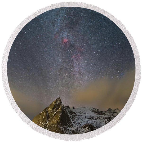 Milky Way In Lofoten Round Beach Towel
