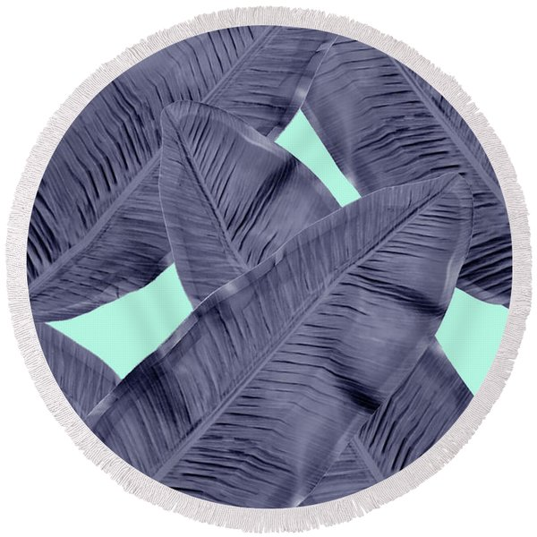Minimal Leaf In Blue  Round Beach Towel