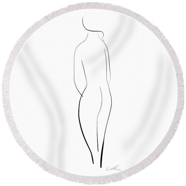 Minimal Line Drawing Of A Nude Woman Round Beach Towel