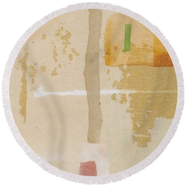 Round Beach Towel featuring the mixed media Mirage by Writermore Arts