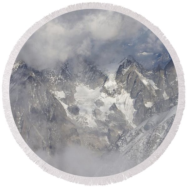 Mist And Clouds At Auiguille Du Midi Round Beach Towel