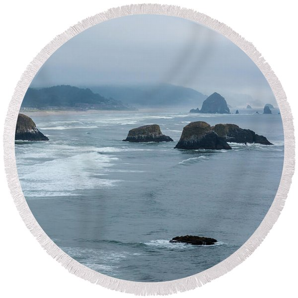 Misty Coastline Round Beach Towel