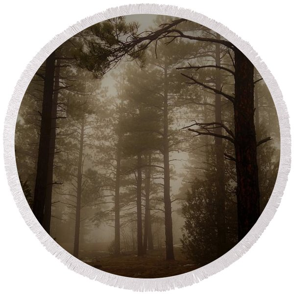 Misty Forest Morning Round Beach Towel