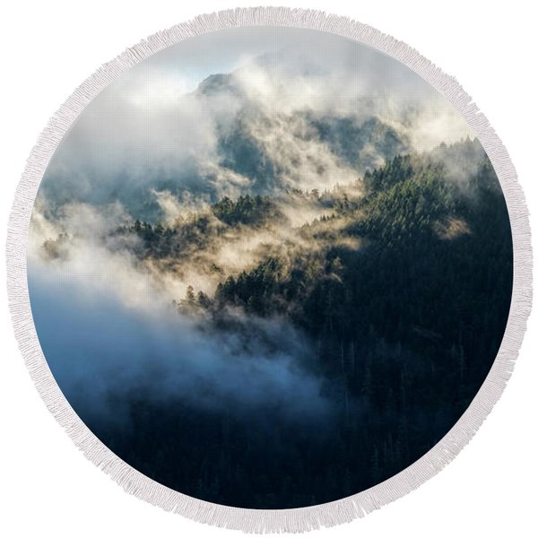 Round Beach Towel featuring the photograph Misty Hills by Michael Hope