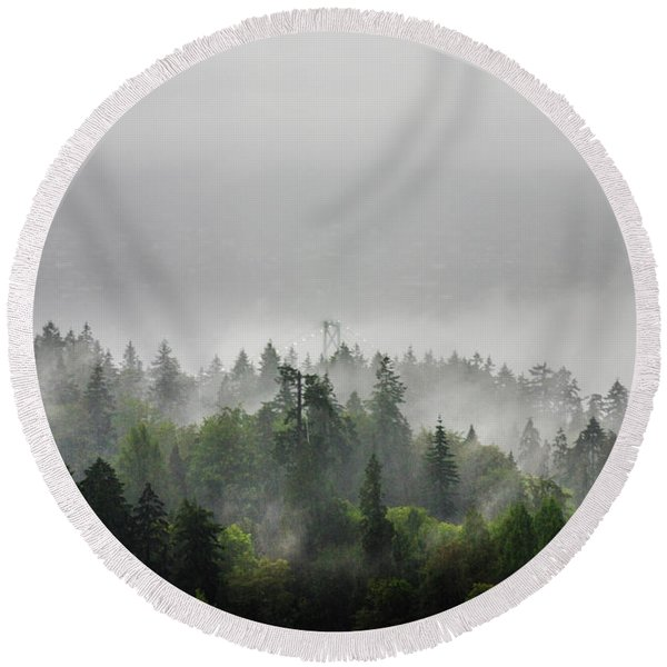 Misty Lions Gate View Round Beach Towel