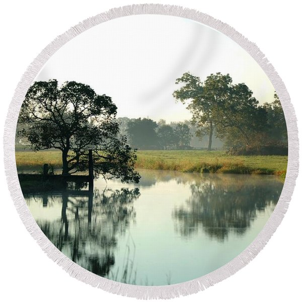 Misty Morning Pond Round Beach Towel