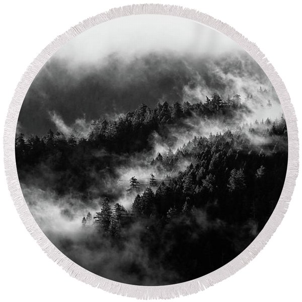 Round Beach Towel featuring the photograph Misty Mountain Pines by Michael Hope