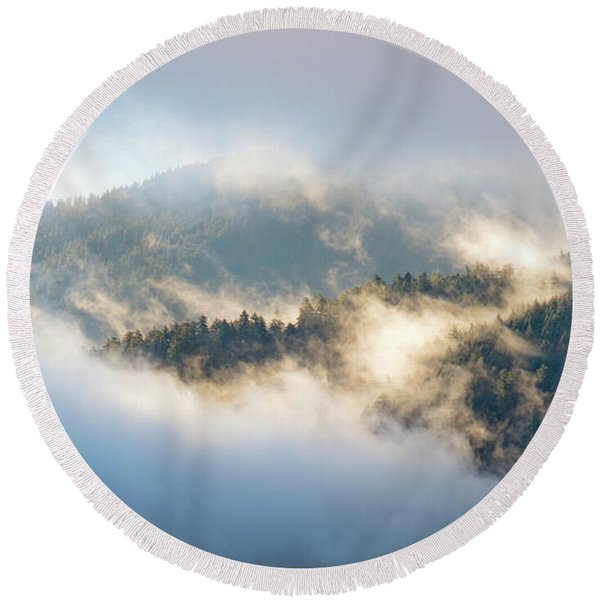 Round Beach Towel featuring the photograph Misty Ridge 2 by Michael Hope