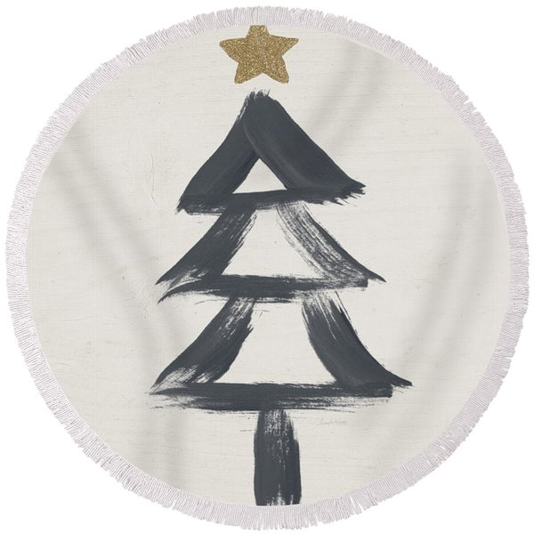 Modern Primitive Black And Gold Tree 2- Art By Linda Woods Round Beach Towel