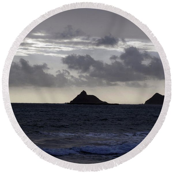 Molokai From Oahu Round Beach Towel