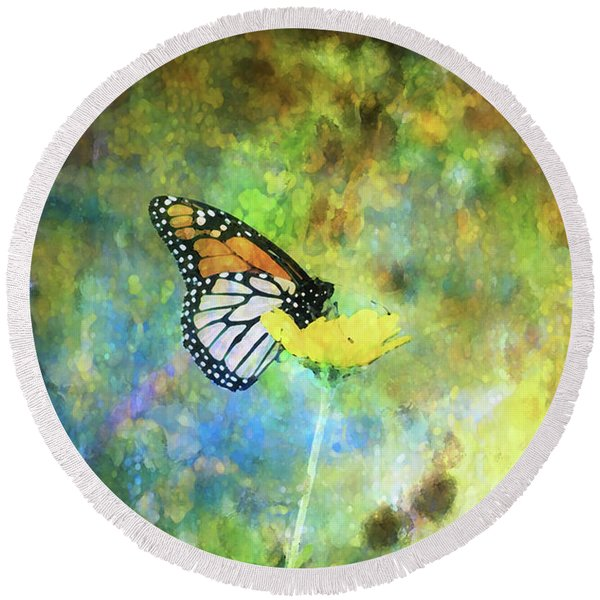 Monarch In Azure And Gold 5647 Idp_2 Round Beach Towel