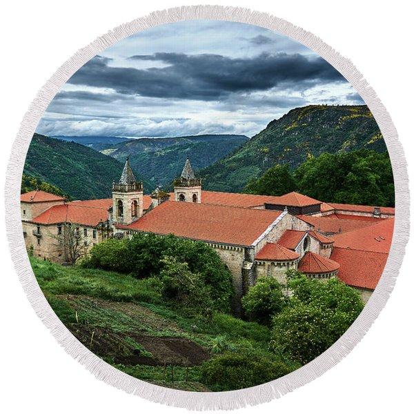 Monastery Of Santo Estevo De Ribas Del Sil Round Beach Towel