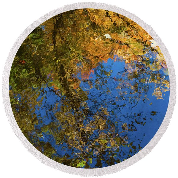 Round Beach Towel featuring the photograph Monet's Autumn Pool by Lon Dittrick