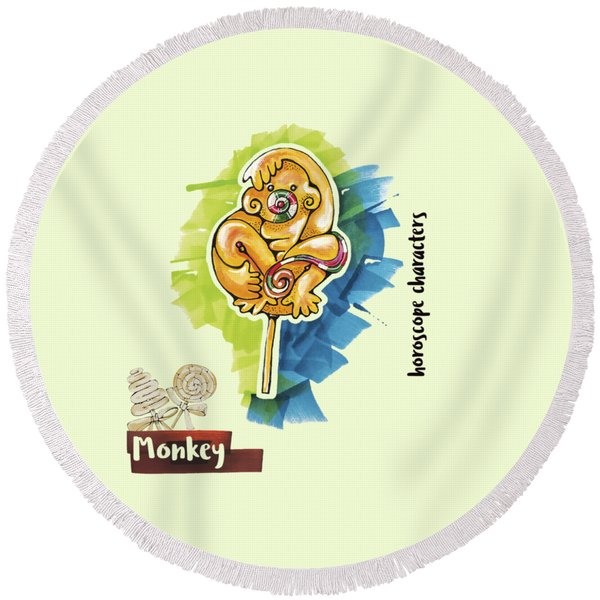Round Beach Towel featuring the drawing Monkey Horoscope by Ariadna De Raadt
