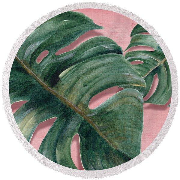 Monstera Leaf  Round Beach Towel