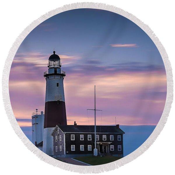 Montauk Lighthousepastel  Sunrise Round Beach Towel
