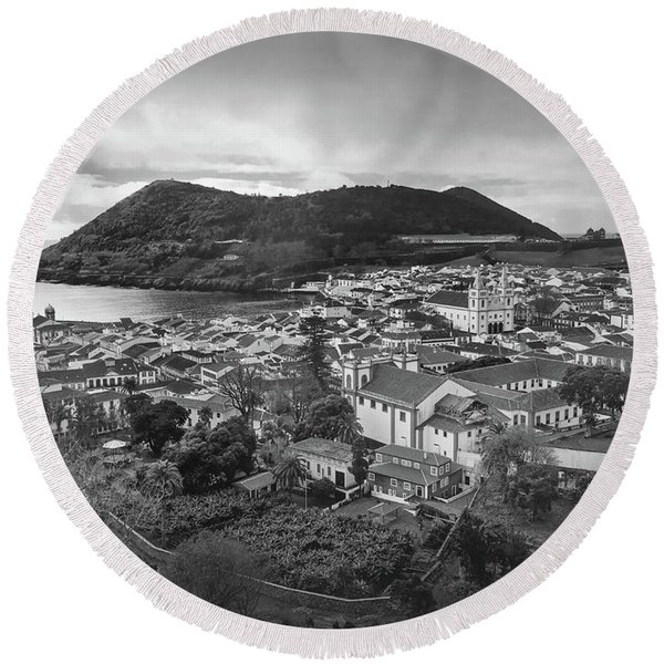 Monte Brasil And Angra Do Heroismo, Terceira Island, Azores Round Beach Towel
