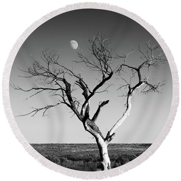 Round Beach Towel featuring the photograph Moon And Memory At Bosque Del Apache N M by Mary Lee Dereske