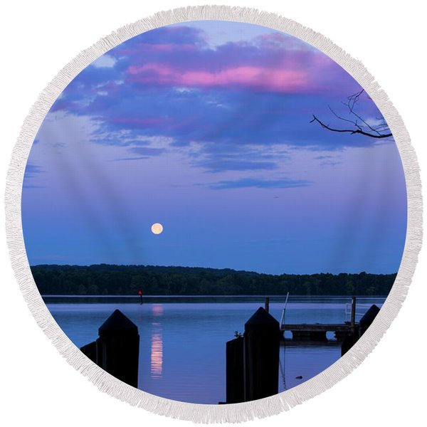 Moon And Pier Round Beach Towel