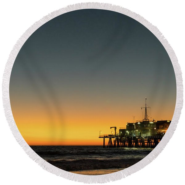 Round Beach Towel featuring the photograph Moon On Jetty  by Michael Hope