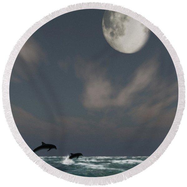 Moonlight Swim Round Beach Towel