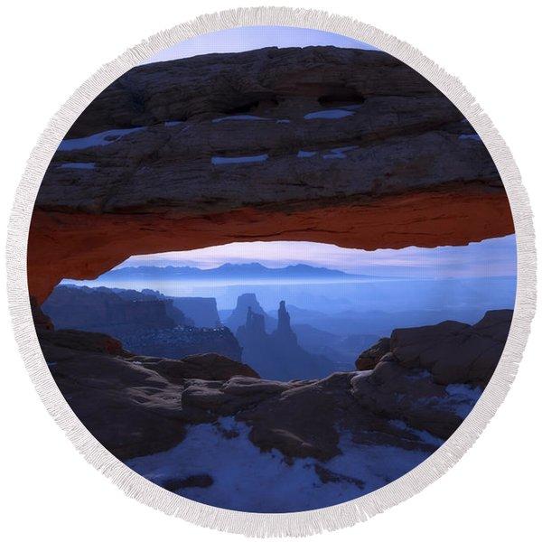 Moonlit Mesa Round Beach Towel