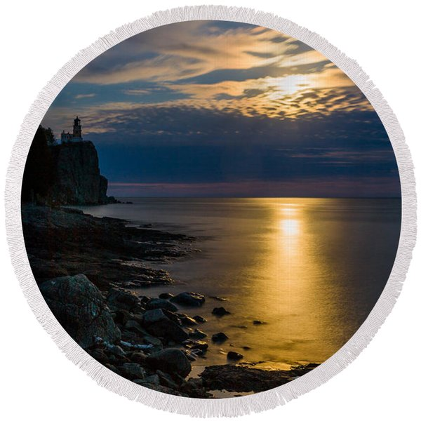 Moonrise From The Cloudbank Round Beach Towel
