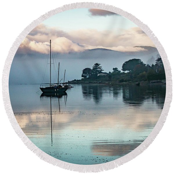 Morning Fog Is Lifting-2 Round Beach Towel