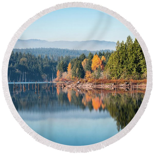 Morning Mist On Distant Mountains Round Beach Towel