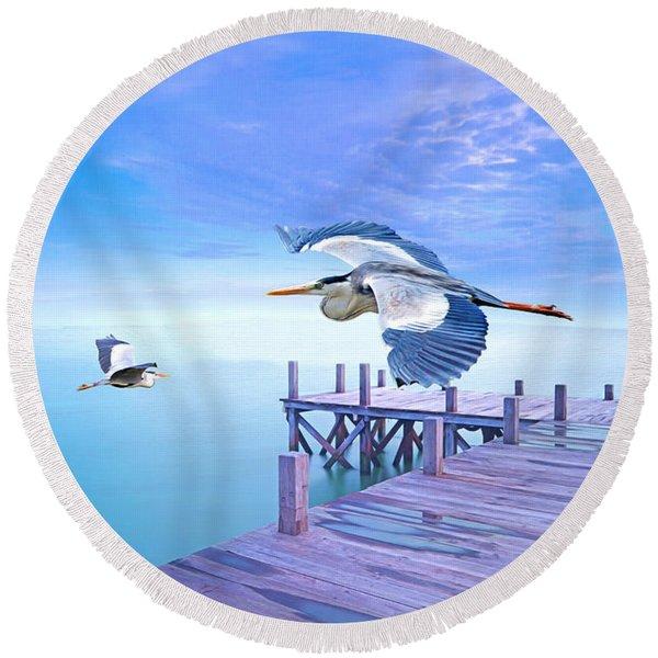 Morning Moon And Gray Herons Round Beach Towel