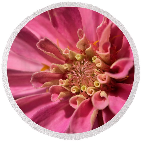 Morning Pink Round Beach Towel
