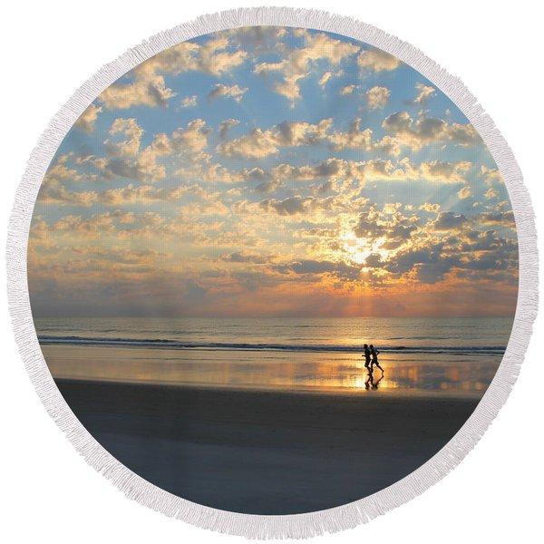Morning Run Round Beach Towel