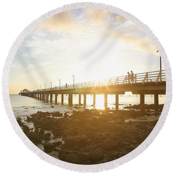 Morning Sunshine At The Pier  Round Beach Towel