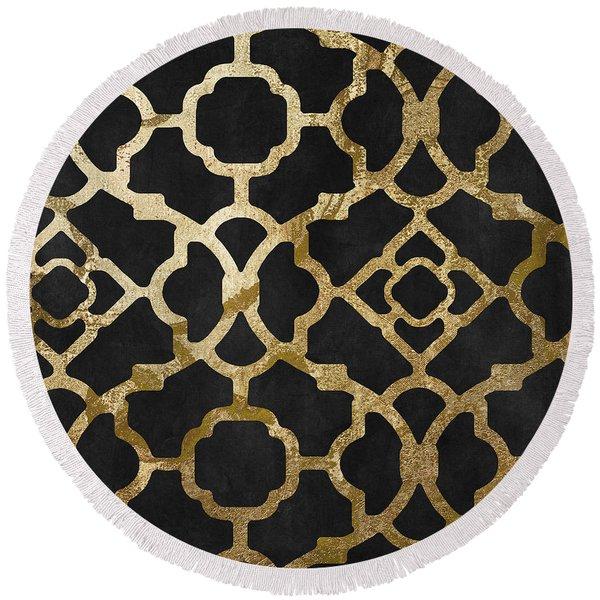 Moroccan Gold IIi Round Beach Towel