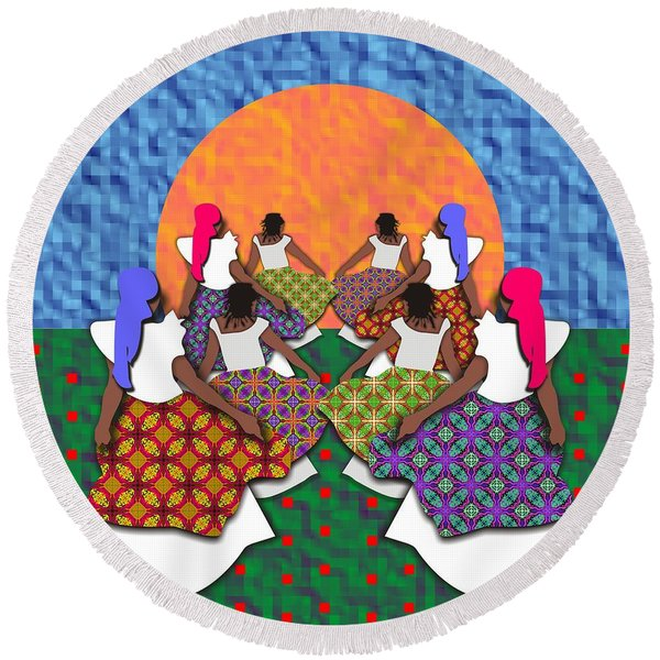 Mothers And Daughters Dancing To The Sun Round Beach Towel