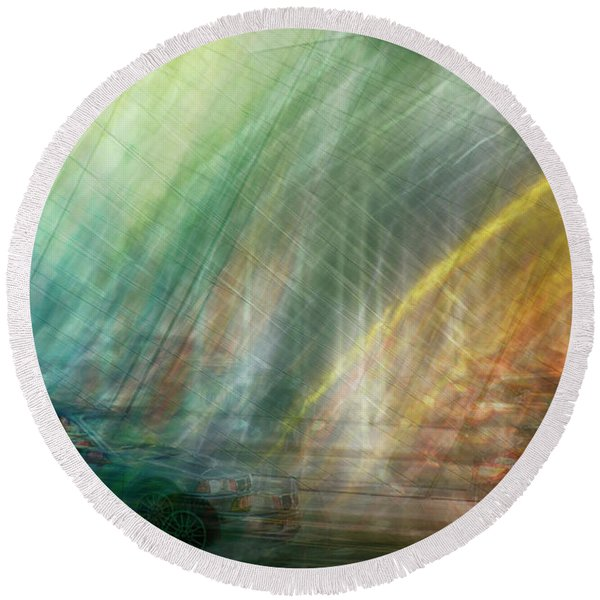 Round Beach Towel featuring the photograph motion in Dublin street by Ariadna De Raadt
