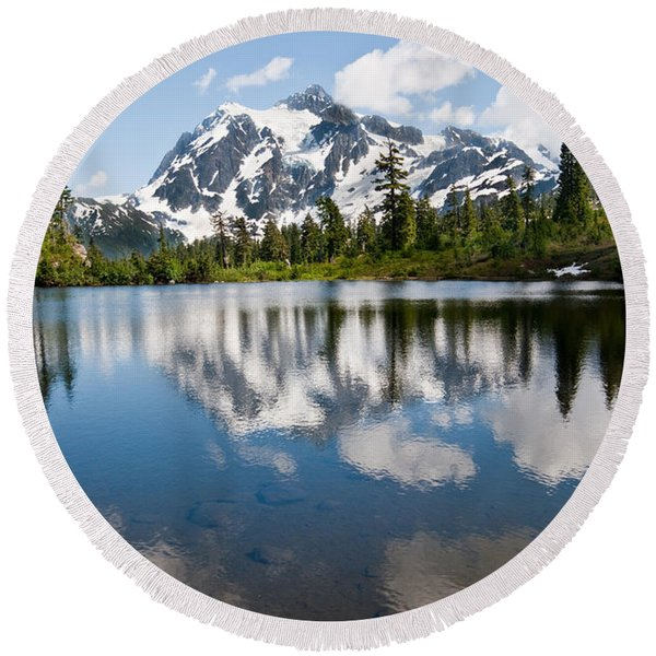 Mount Shuksan Reflected In Picture Lake Round Beach Towel