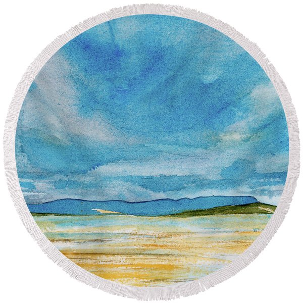 View Of Mount Wellington From South Bruny Island Round Beach Towel