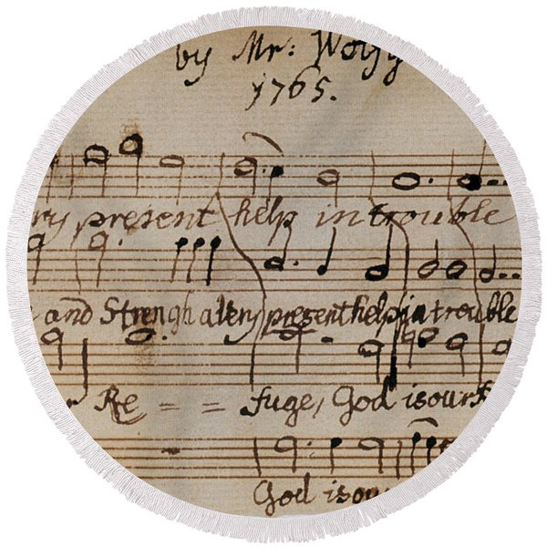 Mozart: Motet Manuscript Round Beach Towel