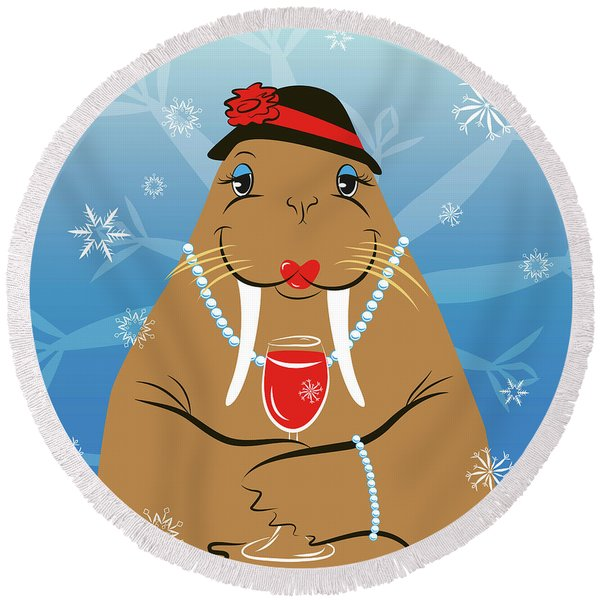 Mrs. Walrus Round Beach Towel