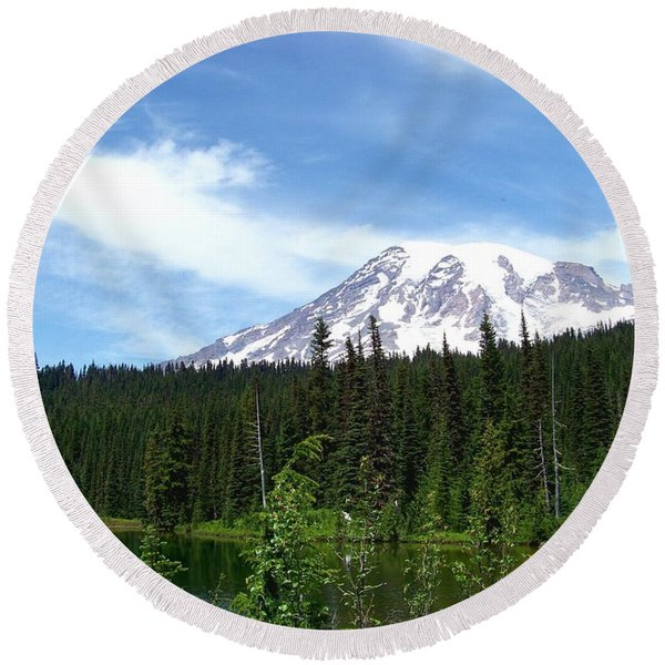 Mt. Rainier Round Beach Towel